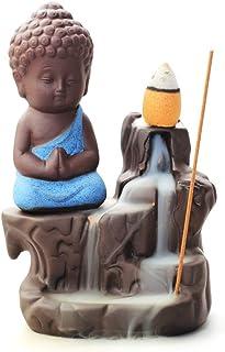 WANGPIN Incense Burner Backflow Tower Cones Sticks Holder Ceramic Porcelain Buddha Monk Ash Catcher (Blue)