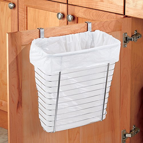 """iDesign Axis Steel Over the Cabinet Storage Basket Organizer, Waste Basket, for Aluminum Foil, Sandwich Bags, Cleaning Supplies, Garbage Bags, Bath Supplies, 7.1"""" x 12.2"""" x 14.2"""", Chrome"""