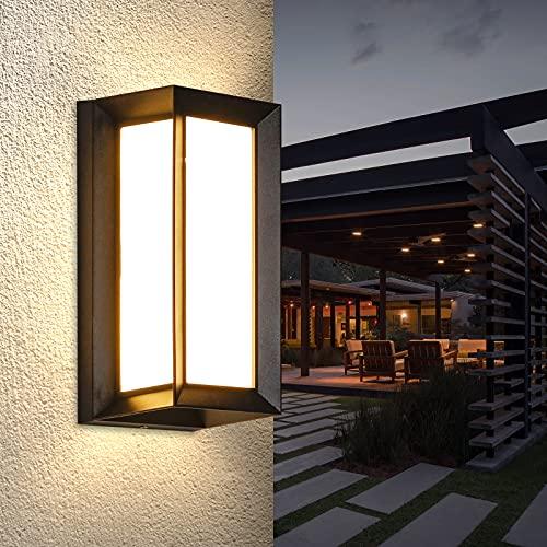 Combuh Apliques de Pared Exterior, 12W LED Lámpara de Pared Impermeable IP65 Moderna 3000K Aplique Pared Exterior, para Balcón, Pasillo, Corredor,Baño,Jardín,Porche,Camino,Patio(Blanco Cálido)