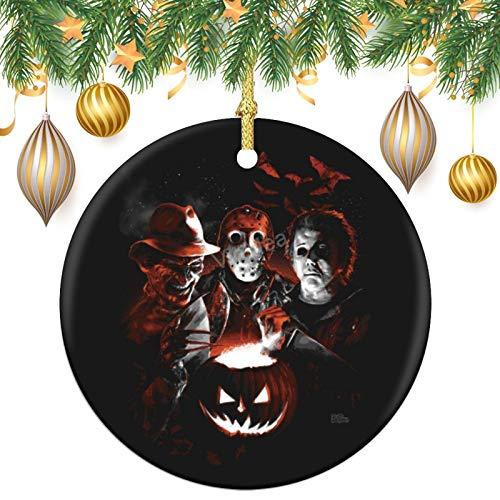 VinMea Round Ornaments - Ceramic Ornament Halloween Scream Team Holiday Christmas Ornament| Santa Gift| Xmas Tree Decoration
