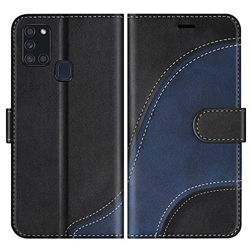 BoxTii Hülle für Galaxy A21S, Leder Handyhülle für Samsung Galaxy A21S, Ledertasche Klapphülle Schutzhülle mit Kartenfächer & Magnetverschluss, Schwarz