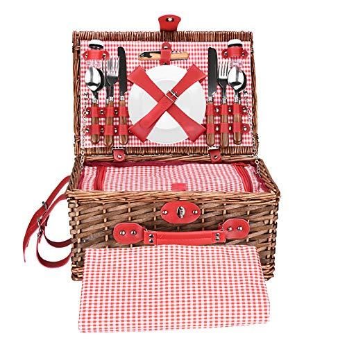 TOPQSC Picknickkorb Set 4 Personen Wicker Picknickkorb Handgefertigte wasserdichte Picknickdecke mit Inkubator und Besteck Geeignet für Picknicks in Parks am See und Strandurlaub