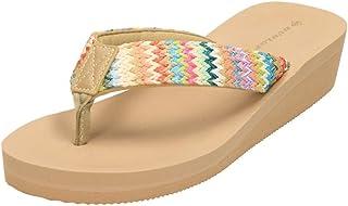 Dunlop Womens Low Wedge Heel Flip Flop Toe Post Sandals