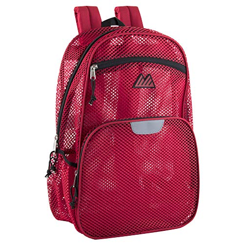 Collapsible Mesh Backpacks for Adults, School, Beach - Backpack with Reflective Strip and Wire Frame for Support (Red)