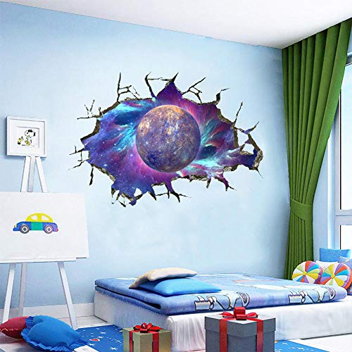3D Brick Wall Milky Way Planet Wall Sticker for Kids Boy Room Home Decor Cosmic Space Galaxy Art Mural Floor Ceiling Wall Decals