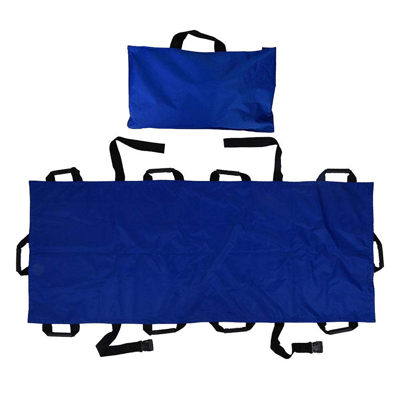 後方フィドル解釈家庭用ストレッチャー、ポータブル10ハンドルオックスフォード布折りたたみ式患者輸送ソフトストレッチャー