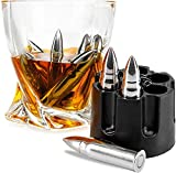 Frolk Whiskey Stones Set Of 6 Extra Large Stainless Steel Whiskey Bullets In Realistic Revolver Freezer Base Reusable Chilling Rocks Stone Ice Cubes Chillers Premium Gift Set