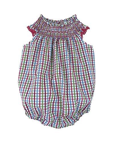 FOQUE - Pelele para bebé a cuadritos Verdes, Rojos y Azules.Punto smok en Cuerpo. Apertura para Cambio de pañal (6 Meses)