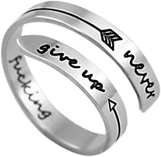 Tree of Life Stainless Steel Keep Going Cuff Bracelet&Ring Fashion Inspirational Gift for Women&Men