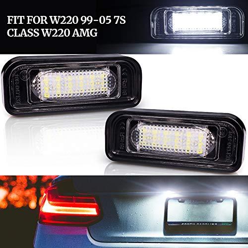 Biqing 2Pcs Luce Targa Lampada,Error Free LED Luci Targa per Auto Lampada Targa LED Luce Lampada Posteriore per W220 99-05(S Class) W220 AMG