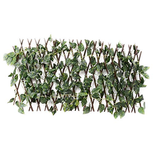 Expanding Trellis Fence Retractable Fence Artificial Garden Plant Fence,Artificial Leaf Faux Ivy Expandable Privacy Fence