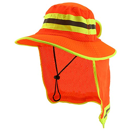 Trendy Apparel Shop High Visibility Neon Color Reflective Boonie Hat Mesh Flap - Safety Orange