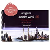 Artspaze Sonic Wall - Quaderno a spirale formato DIN A4, carta speciale liscia senza perforazione, 30 fogli, bianco Mix-Media Blocco da disegno, 210 g di carta per manga, graffiti, layout