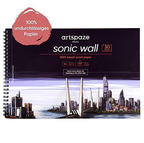 artspaze Sonic Wall Spiralbuch DIN A4, durchschlagfreies glattes Spezialpapier, 30 Blätter, weiß, Mix-Media Zeichenblock, 210g starkes Papier für Manga, Graffiti, Layoutmarker