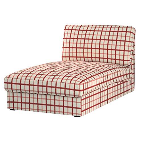 Dekoria Kivik Recamiere Sofabezug Husse passend für IKEA Modell Kivik, Creme- rot