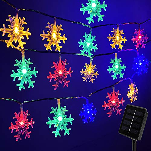 Darknessbreak Solar Christmas Lights Outdoor Snowflake String,30ft 50 LED Multi-Color Snowflake String Lights for Christmas Tree, Xmas Decor,Fire Place,Play House,Kids Tent ,Bedroom.