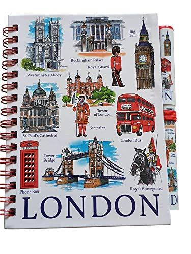 London Icons Notizbuch und Stift – A6-Größe, passendes Design, Spiralbindung, Big Ben/Westminster/roter Bus/Bienenspieler/Tower Bridge/St. Paul's/Telefonzelle/britisches Souvenir aus England