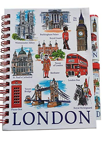 London Icons Notebook and Pen - A6 Size/Matching Design/Wirebound Notepad/Big Ben/Westminster/Red Bus/Royal Horse Guard/Beefeater/Tower Bridge/St. Paul's/Telephone Box/British Souvenir from England UK