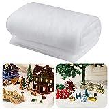 Skylety Rollo de Manta de Nieve de Navidad Manta Decorativa de Nieve Falsa de Interior Mantas de Nieve Artificial para Decoraciones de Pared de Pueblo de Navidad (1 Pieza, 1,3 x 9,8 Feet)