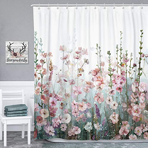 SUMGAR Blumen-Duschvorhang bunt quadratisch Badezimmervorhänge modern dekorativ rosa Blumen Mehrfarbig Polyester wasserdicht mit 12 weißen Vorhangringen 180x180cm