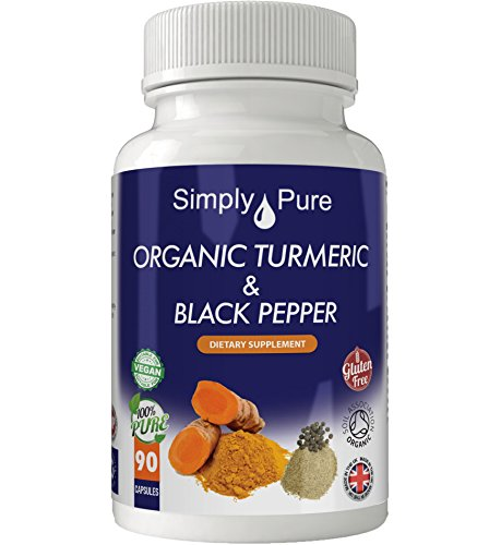 Simply Pure Organic Turmeric and Black Pepper Capsules x 90, 605mg, 100% Natural Soil Association Approved, Gluten Free, GM Free and Vegan.