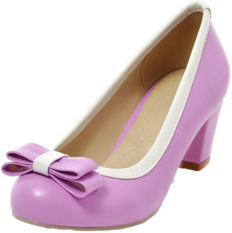 WeenFashion Women's Kitten-Heels PU Round Closed Toe Pumps-shoes, AMGDX005884