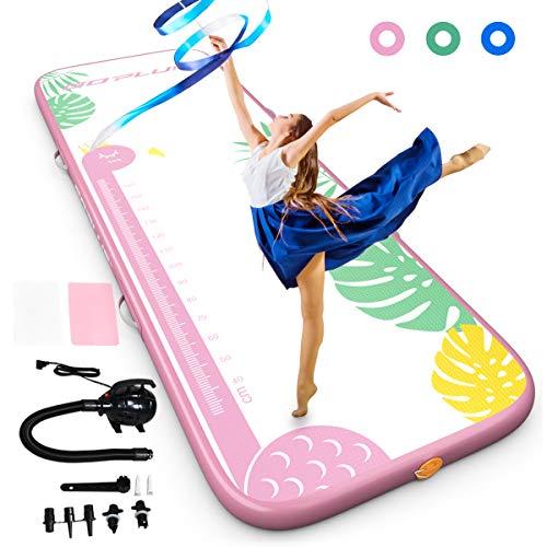 GOPLUS Aufblasbare Gymnastikmatte, 3m Trainingsmatte, aus PVC, mit Elektrischer Luftpumpe, Tumbling Matte für Erwachsene & Kinder, für Zuhause, Outdoor, Fitness, Yoga, bis zu 200kg Belastbar (Pink)