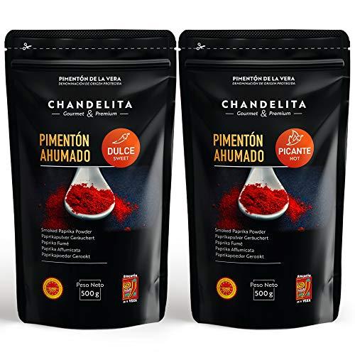 CHANDELITA Gerookte Paprika van Vera Zoet en Kruidig Poeder in Zakje (2x500gr) met Beschermde Oorsprongsbenaming - Specerijen. Gourmet & Premium - 100% Paprika