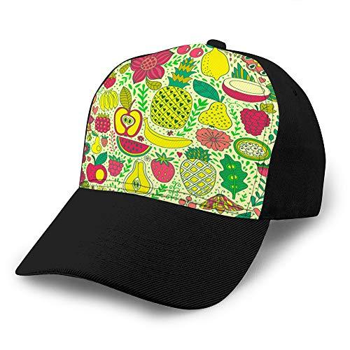 Preisvergleich Produktbild 1050 Unisex Fashion Hats Ball Cap,  atmungsaktiv,  verstellbar Fruchtkritzeleien nahtloses Muster handgezeichnete Custom Denim Baseball Cap