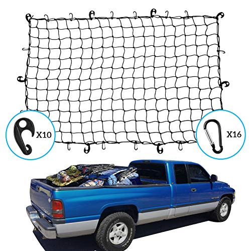 Kohree カーゴネット 120×180cm 車用 トランクネット Dリング&2WAYフック付 荷物落下防止 収納ポーチ付属 3年安心サービス