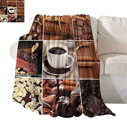 Best Blankets Coffee and Chocolate Tasty Collage Beans Mugs Snacks Pastries Espresso Cocoa Composition Brown Light and Warm 60x51 Inch