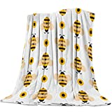 Lightweight Flannel Traveling Throw Blanket Blankets Cartoon Bumble Big Honey Bee Blankets/Bedcovers/Bedspread/Throws for Couch Bed 39x49inch