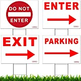 Traffic Sign Kit with Stands - DO NOT ENTER, PARKING, ENTER and EXIT Arrow Yard Signs Bundle for Traffic Control - Includes Four 24-inch x 18-inch UV 2-Sided Yard Signs + Four 24-inch Tall Wire Stakes