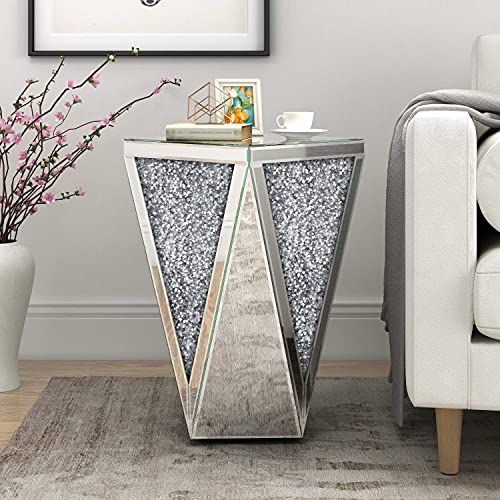 Mirrored End Table Diamond Setting Side Table Pedestal Stand for Hallway, Living Room, Corner, Bedroom, Sofa