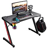 Homall Gaming Desk 44 inch Computer Desk Gaming Table Z Shaped PC Gaming Workstation Home Office Desk with Carbon Fiber Surface Cup Holder & Headphone Hook (Black)