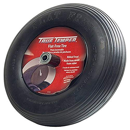 True Temper FFTCC 8 in. Hub Never Flat Wheelbarrow Tire with Ribbed Tread, 8-Inch,Black