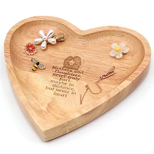 Ku-dayi Ring mit inspirierender Herzform, aus Holz, rustikale Bauernhaus-Dekoration, Hochzeit, Jahrestag, Geburtstag,...