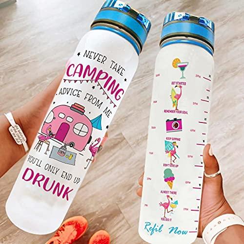 Bestwe Flamingo - Botella de agua Tritan con marcador de tiempo, ligera, para deporte, fitness, bicicleta, exterior, color blanco, 1000 ml
