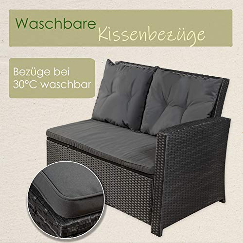 ArtLife Polyrattan Sitzgruppe Lounge Santa Catalina schwarz | dunkelgraue Bezüge | Gartenmöbel-Set mit Ecksofa, Hocker & Tisch - 5