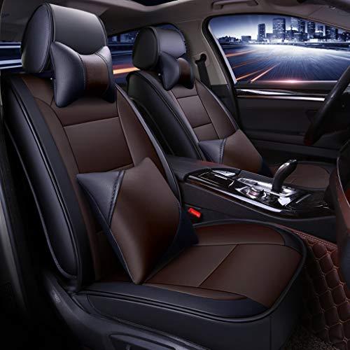 Luxe autostoelhoes, 5-zits auto universeel lederen Motion volledige set van vier seizoenen pad compatibel met airbag kussen Black gamma