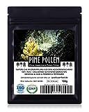 PINE POLLEN (Pinien Pollen) - Natürliche Wildsammlung | TOP-Qualität vom NR.1-Original | 100% rein + laborgeprüft auf Schadstoffe | GMP + ISO-9001 zertifiziert | frisch geerntet | roh vegan | 100g