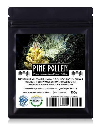 PINE POLLEN (Pinien Pollen) - Natürliche Wildsammlung | TOP-Qualität vom NR.1-Original | 100{58d4a9f26830d027f4ae9a7c940185989cf723a5105714aa23eda6c840b297a4} rein + laborgeprüft auf Schadstoffe | GMP + ISO-9001 zertifiziert | frisch geerntet | roh vegan | 100g