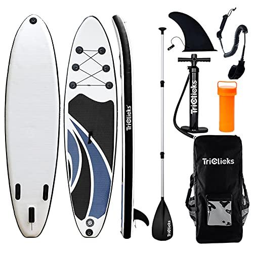 Triclicks Tabla Hinchable Paddle Surf/Sup Paddel Surf con Bomba, Mochila, Aleta Central Desprendible, Kit de Reparación, Remo Ajustable, La Cinta para Atar al Pie(300 * 75 * 15cm-Grosor) (Style 2)