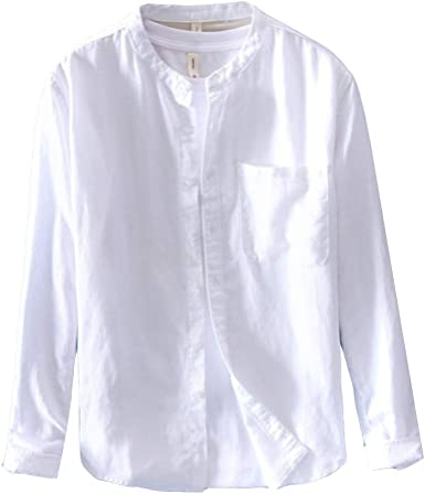 Hombre Camisa Lino Casual Manga Larga Sin Cuello Blusa Suelta ...