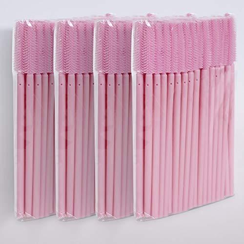 Wimpernverlängerung Wimpernbürste Wimpernbürstchen Mascara Bürste Silikon Pink, Stück:200