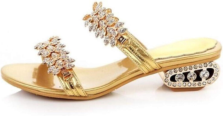 ZHZNVX Women's Sheepskin Summer Sandals Low Heel gold Black