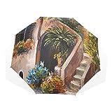 LASINSU Regenschirm,Terrassenblumen und Gartenhaus Griechenland mit rustikalem Fensterölgemälde,Faltbar Kompakt Sonnenschirm UV Schutz Winddicht Regenschirm