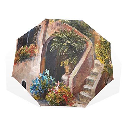 LASINSU Regenschirm,Terrassenblumen und...