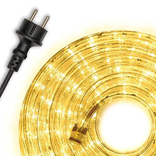 Nipach GmbH 20m 480 LED Lichterschlauch Lichtschlauch gelb – Innen- und Außenbereich – energiesparende Leucht-Dekoration für Garten Fest Weihnachten Hochzeit Gesamtlänge ca. 21,50 m