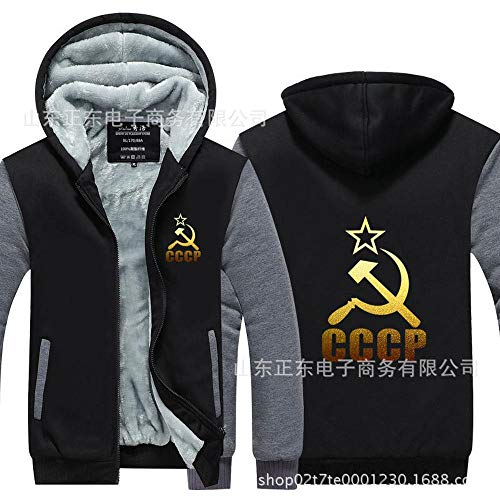 Outwear Männer Hoodie - CCCP Druck Lässige Pullover Baseball Uniform Mantel Zip Stitching Langarm-Jacke Warm - Teen Gift Grey-L